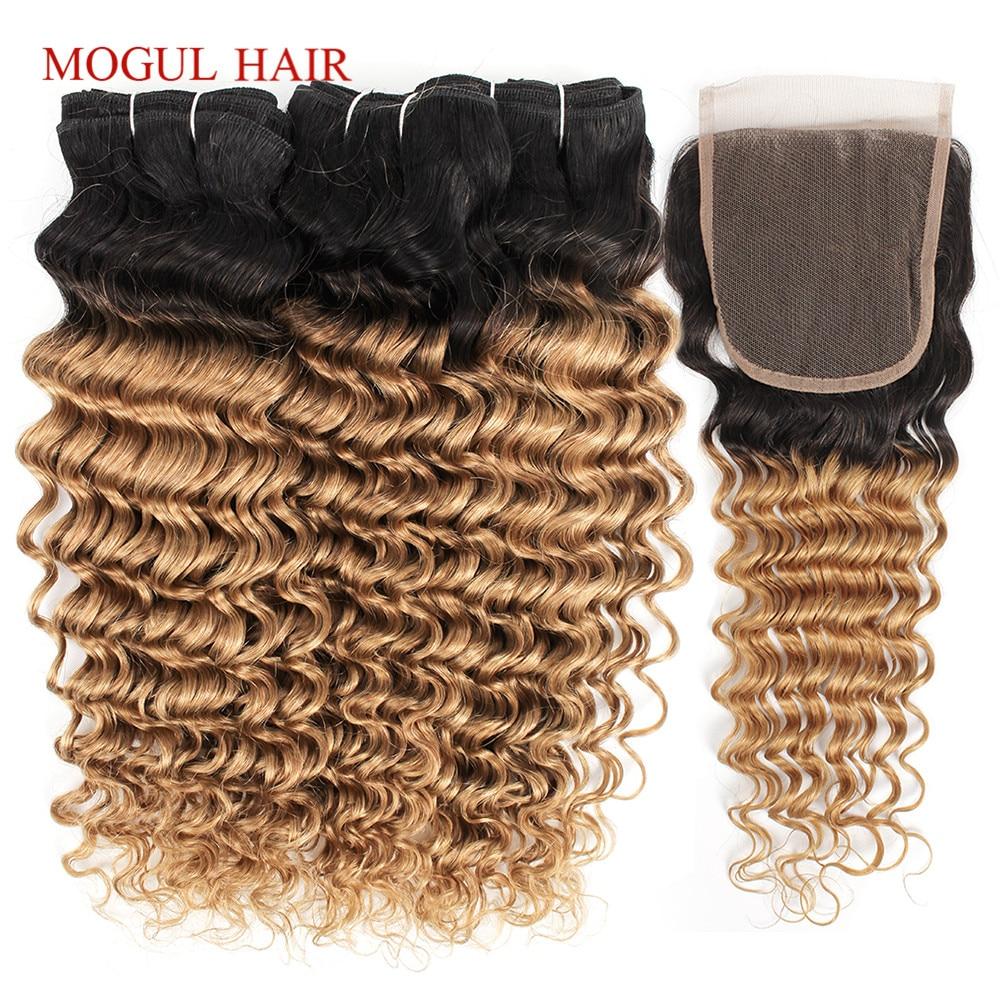 MOGUL HAIR 2 3 Bundles Ombre Honey Blonde Bundles With Closure T 1B 27 Deep Wave