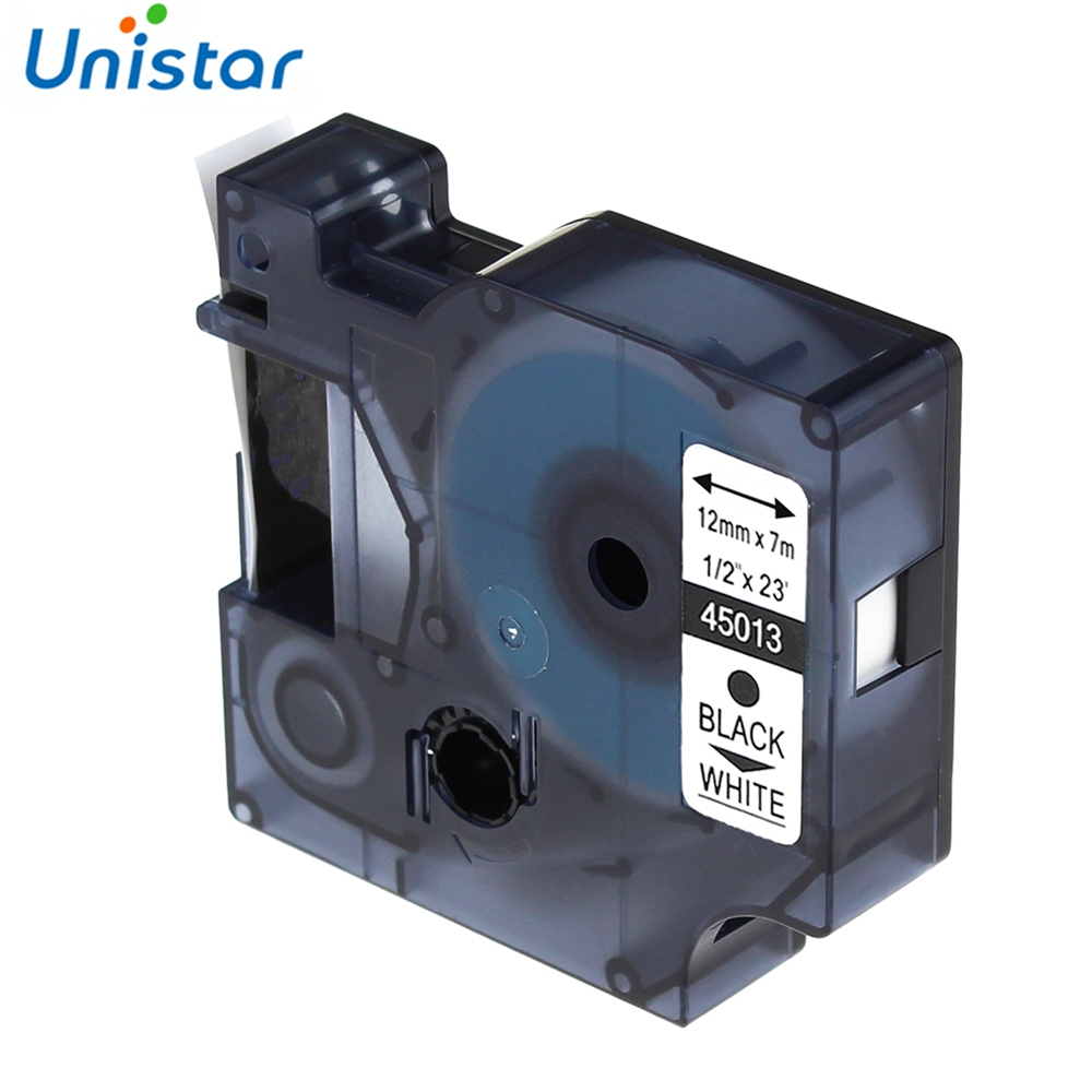 Unistar D1 45013 Combo Set compatible for DYMO D1 Label Tape 12mm Black on White Label Ribbons Printer Label Manager 210 450 herdmar набор столовых приборов arco 24 пр на 6 персон 35х26х4 см 151302401172000000 herdmar