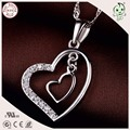 Popular Good Quality 925 Sterling Silver Two Hearts  Pendant For Girls