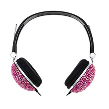 Colorful diamond-studded 3.5mm Audio Earphones Stereo Headset Cable for Android Smartphone, PC, Mp3/mp4, Tablet Macbook(Rose)