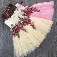 럭셔리 레이스 꽃 소녀 드레스 아플리케 아이 파티 웨딩 드레스 볼