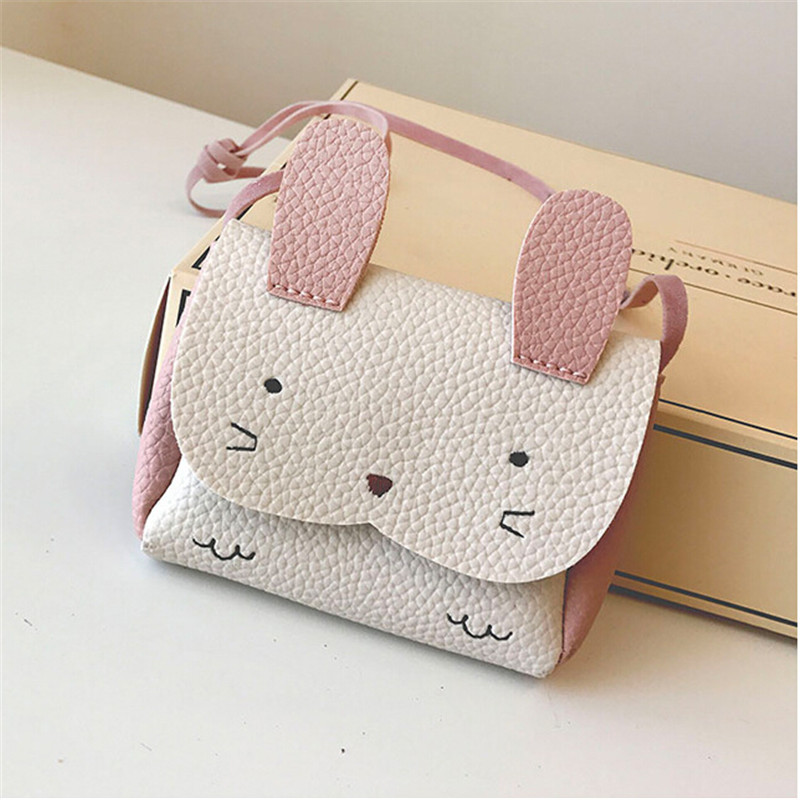 Cute PU Leather/Faux Fur Kids Coin Purse Rabbit Bowknot Mini Messenger Bag Handbag Children Crossbody Bag For Girl Shoulder Bags