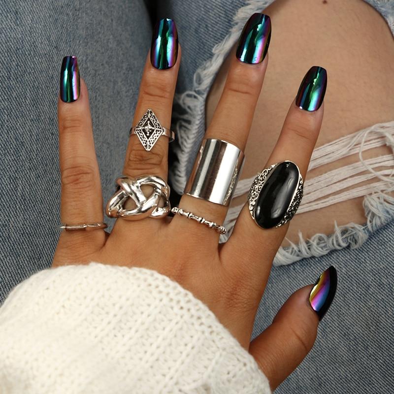 Docona 5 шт./компл. Мода Высокое качество в богемном стиле Стиль кольца комплект Классический Форма узор кристальная Подвеска для Для женщин Шарм ювелирные изделия