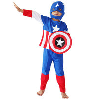Halloween Costumes Comic Marvel Captain America Hero Costume Long Sleeves Royal Blue Clothing Set