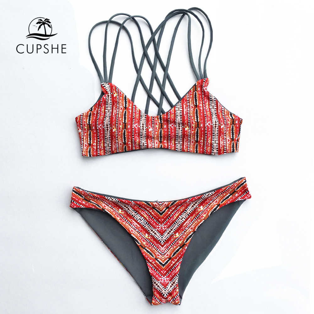 5917102bb3 CUPSHE Dream Space Bikini Set Women Lace Up Cross Thong Triangle ...