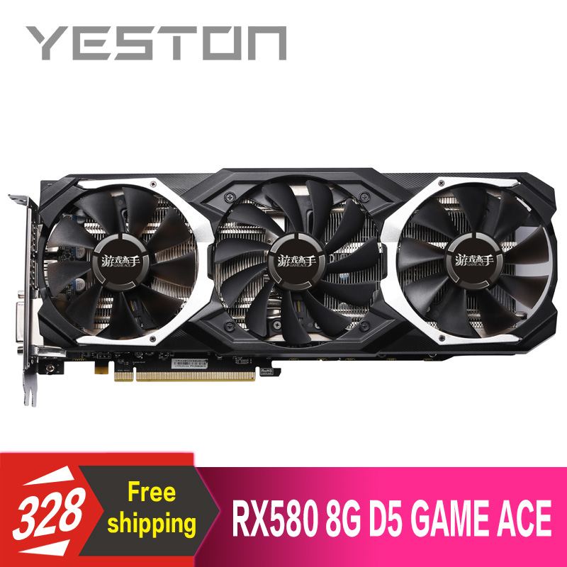 US $241 38 31% OFF|Yeston Radeon RX580 8GB GDDR5 PCI Express x16 3 0 video  gaming graphics card external graphics card for desktop-in Graphics Cards