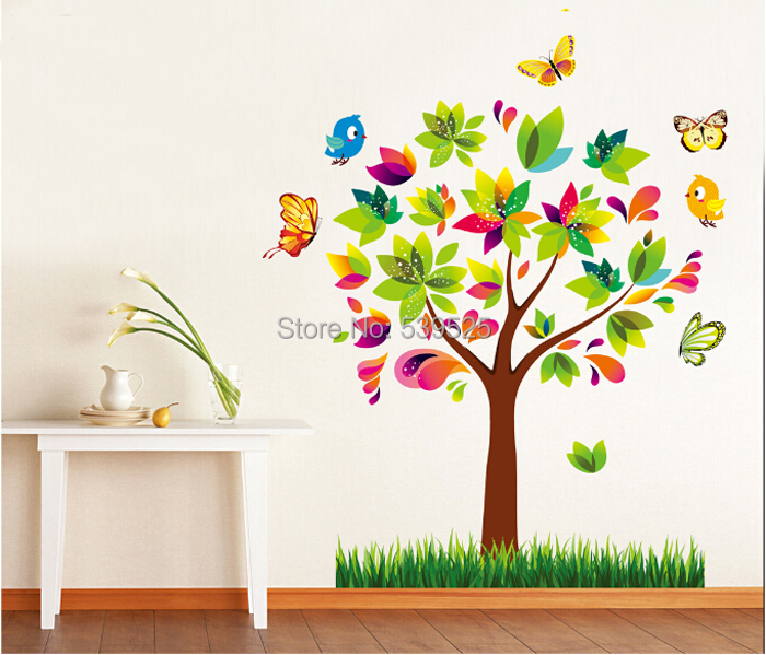 D Multi Layers Three Dimensional Sticker Flower Tree Birds - Butterfly wall decals 3d