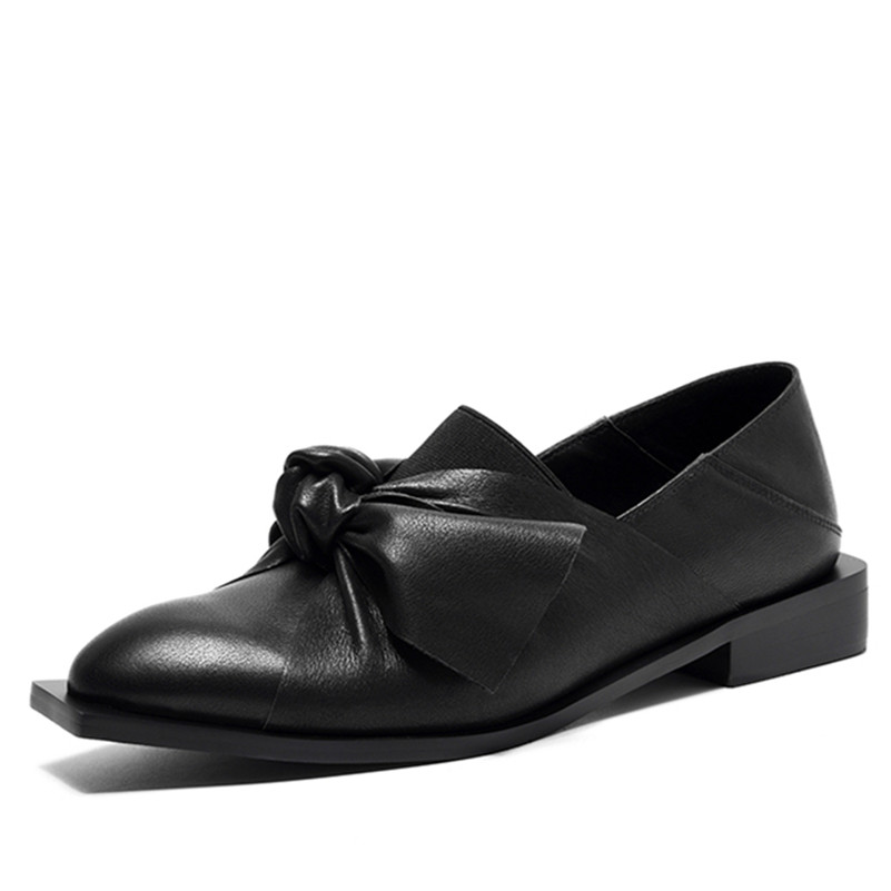 FEDONAS Neue Klassische Schuhe Frau Pumpt Echtes Leder Platz Ferse Schwarz Weiß Neue Herbst Schuhe Bowtie Knoten Pumpen Partei Schuhe-in Damenpumps aus Schuhe bei  Gruppe 2