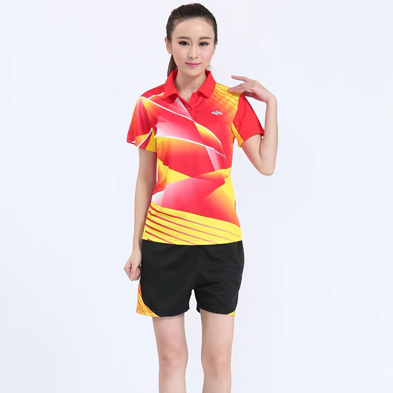 Badminton Suits Women ,Table Tennis wear t shirts + Shorts , Tennis shirt , pingpong shirts , pocket tracksuit Trainning Shirts