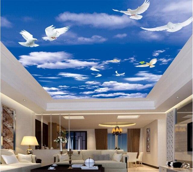 Benutzerdefinierte wohnzimmer decke tapete blauen himmel weißen ...
