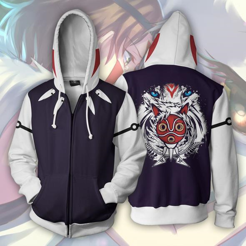 Princess Mononoke Anime Mononoke Hime 3D Print Hoodies Sweatshirts Cosplay Hooded Casual Coat Jacket