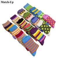 Match-Up femmes coton chaussettes colorées drôles aléatoire couleur mixte 10 paires/lot livraison gratuite
