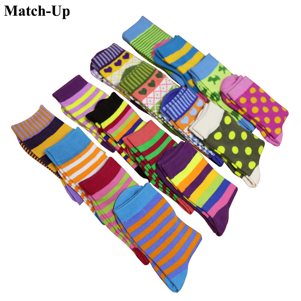 Match-Up women's cotton funny colorful socks RANDOM MIXED COLOR 10 PAIRS/lot Free Shipping