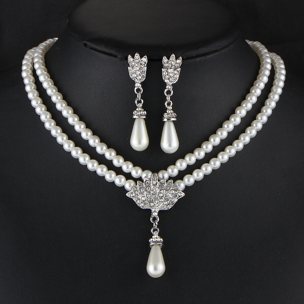 TREAZY Elegant Simulated pearl Bridal Jewelry Sets Rhinestone ...