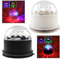 Free shipping 15W 2in1 Voice-Activated RGB Crystal Magic Ball 48 LEDs Stage LED Light Auto For Disco Party