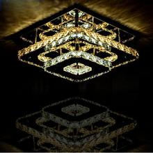 LED Modern Crystal Ceiling lights Fixture Square lamp de teto For Living Room Ceiling Lamp Surface Mounted For Bedroom Corridor