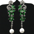Longo Borboleta Quartzo Verde, branco Pérola, SheCrown branco CZ Brincos de Prata 57x15mm