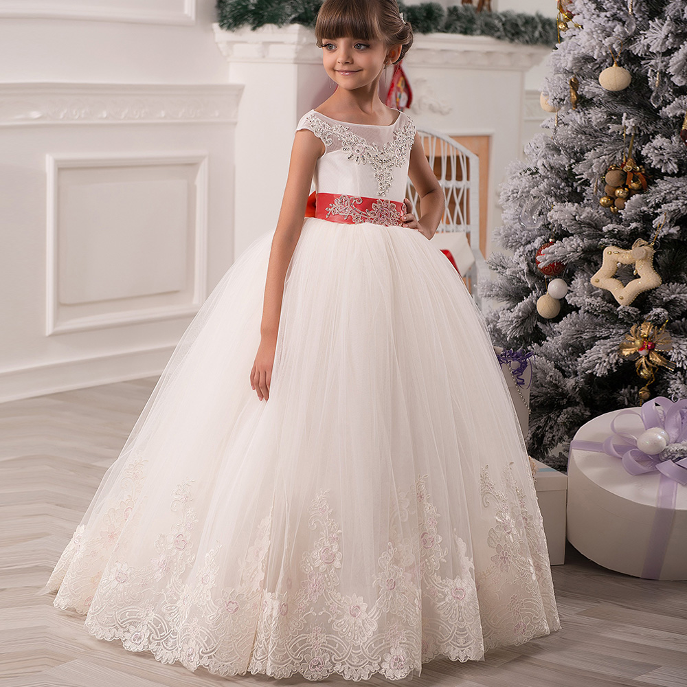 Gorgeous Vestidos de Communion Sleeveless Ruffles Bow Open Back Lace Appliques Christmas Little Girl Tulle Ball Gowns 2017