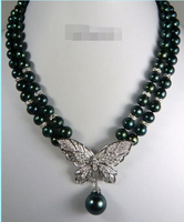 Free Shipping Hot Sale 2 Rows Real Black Pearl 18KWGP Crystal Butterfly Pendant Necklace