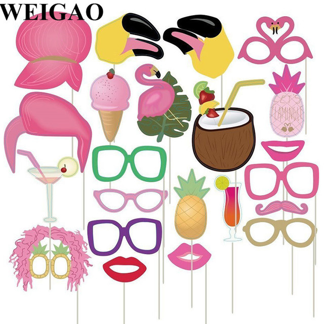 Weigao 22pcs Summer Flamingo Theme Party Photo Booth Props Sea Beach