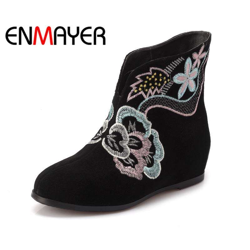 ФОТО ENMAYER Retro ethnic  Flats Shoes New Round Toe Winter Mixed Colors motorcycle boots Sheepskin Ankle black Big Size  Snow Boots