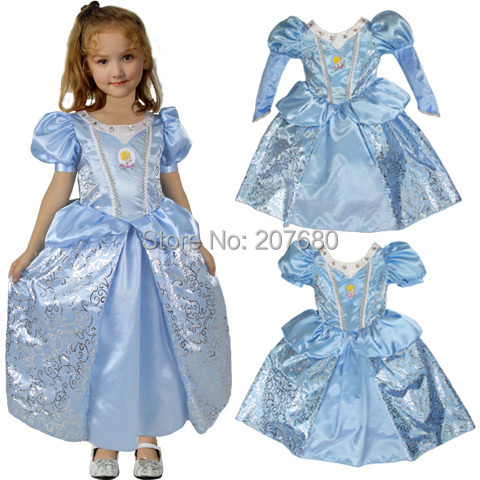 Blue Girls Christmas Cinderella Princess dress Halloween Costumes fancy dress for kids Party Cosplay Costume