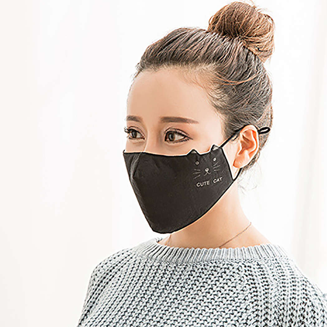 Women Mouth Masks Cute Cat Kitty Design Breathable Anti-dust Half Face Mask Face Mouth Mask Monuth Cover Dust-Proof Face Protect