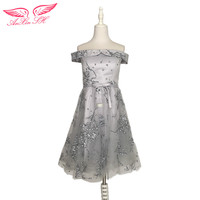 AnXin SH Grey Flower Lace Evening Dress Sister Princess Lace Evening Dresses Grey Bow Lace A