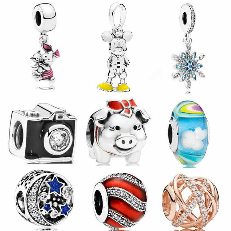 Ranqin 2019 New Pig Camera Beads Mickey Pendant Series DIY Suitable for Pandora Bracelet Women Jewelry European Charm