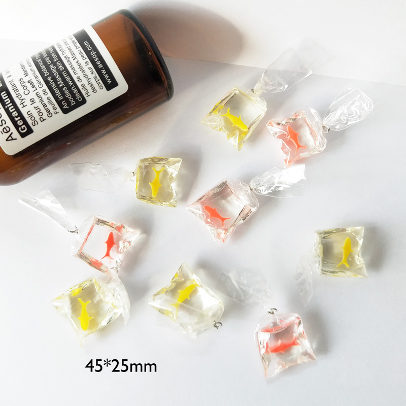 10pcs Transparent Fish In Bag Resin Goldfish Charms Imitation Water Bags Gold Fish Earrings Pendants DIY Jewelry Accessories FX0 in Charms from Jewelry Accessories