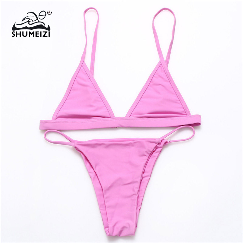 <font><b>2018</b></font> <font><b>Sexy</b></font> Women Swimsuit <font><b>Micro</b></font> <font><b>Bikini</b></font> Set Bathing Suits With Halter Strap Swimwear Brazilian bottom Monokini maillot de image