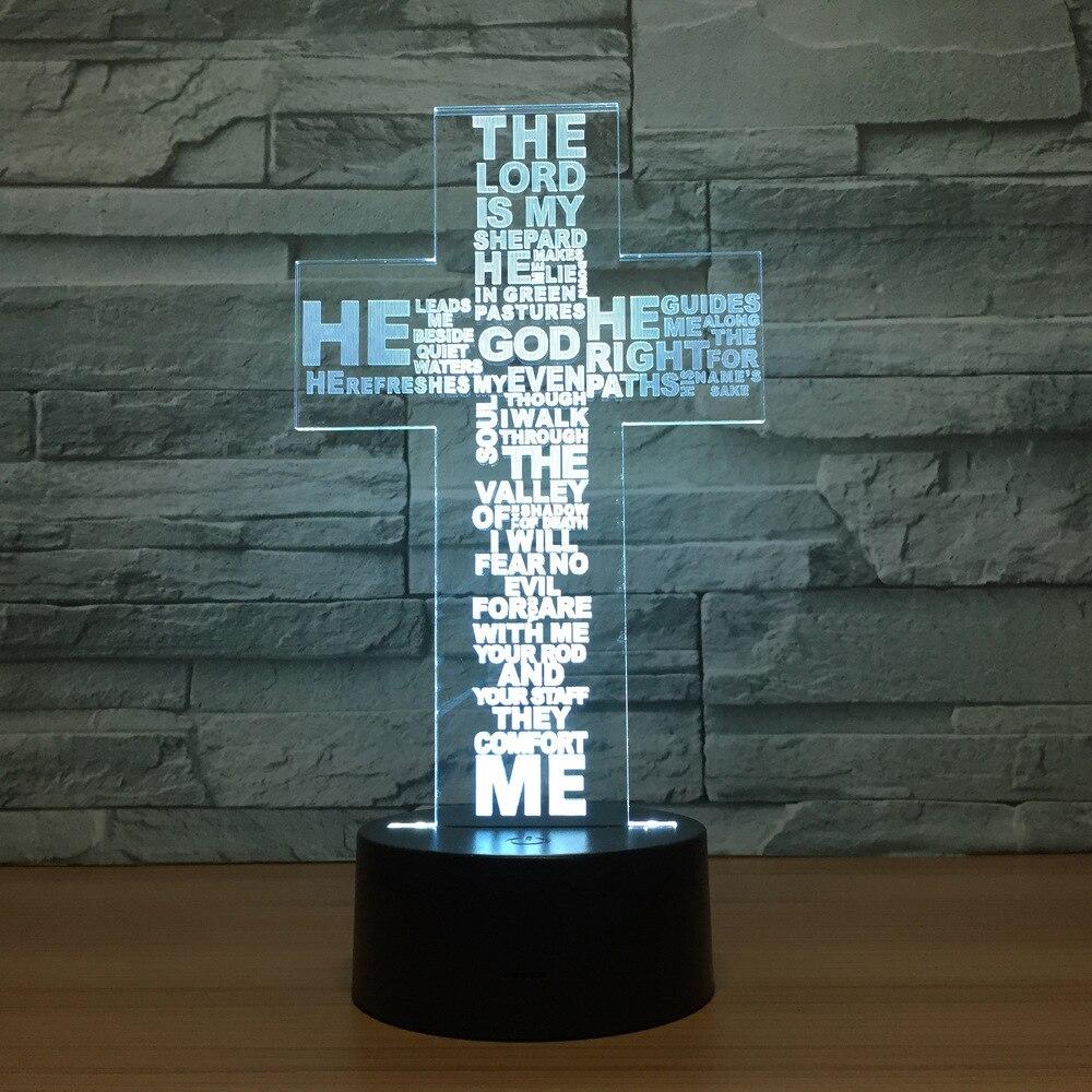Крест 3D Иллюзия лампы Красочный светодиодные Usb 3d Визуальный Ночная luminaria-де-меса Новинка светильники детская комната ночь свет