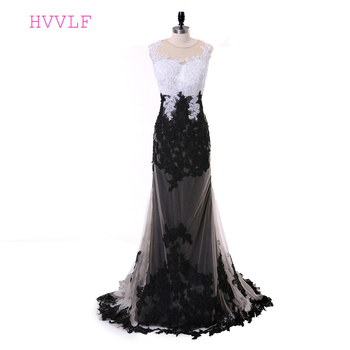 Black Evening Dresses 2019 Mermaid Cap Sleeves Tulle Lace Appliques Pearls Long Evening Gown Prom Dress Prom Gown Robe De Soiree