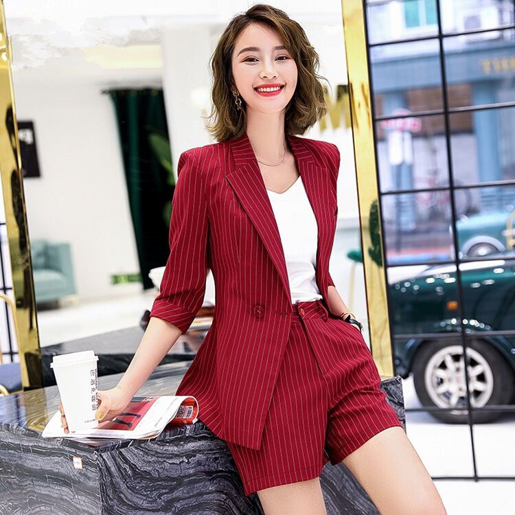 IZICFLY Spring Summer Striped Women Business Short Suits Work With Elegant Business Blazzer Mujer Office Wear 2 Piece Short Set