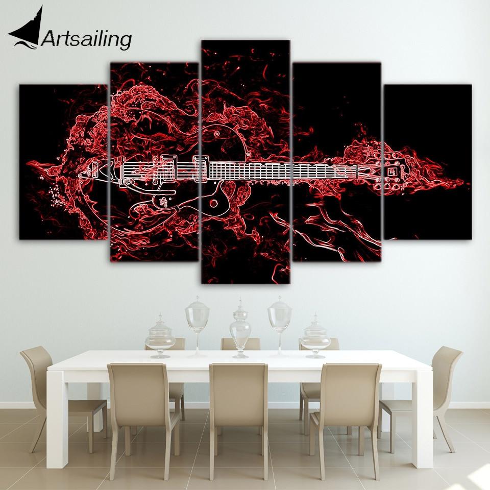 HD Gedruckt 5 stück Leinwand Kunst Abstrakte Rote Gitarre Malerei ...