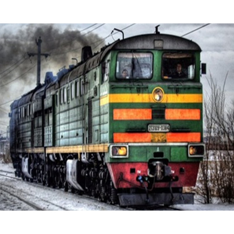 A train tray locomotive DIY Diamond Painting Round Cross Stitch Mosaic Diamond Embroider ...
