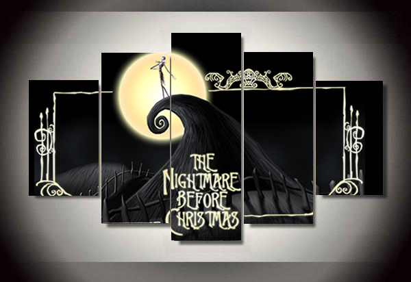unframed printed the nightmare before christmas 5 piece painting wall art childrens room decor poster canvas