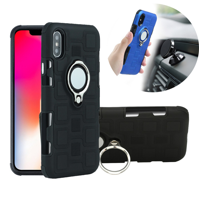 For iPhone 7 8 Plus XS Case 360 TPU + PC Hybrid Armor Cover For iPhone 6 s 6S Plus XR iphone 8 XS MAX Magnetic Bracket Case Capa