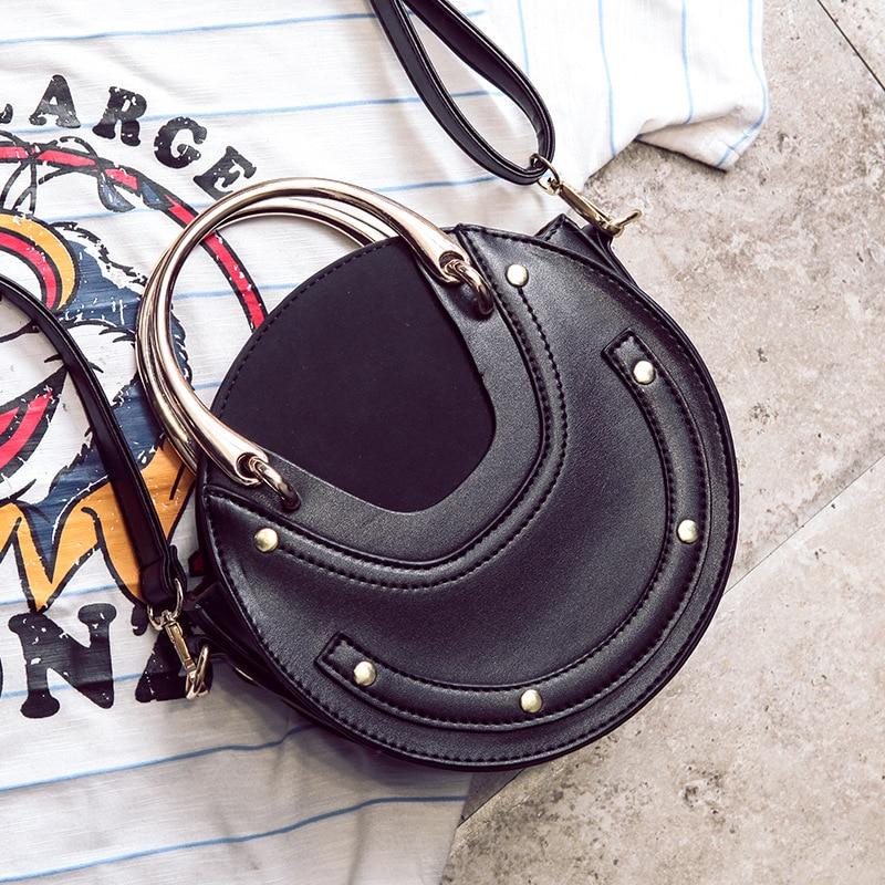 Female Bag Women's Handbags 2019 New Metal Handle Round Bag Shoulder Crossbody Portable Small Bag Bolsa Feminina - 6