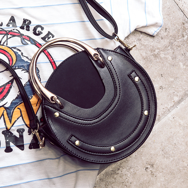 Sac femme sacs à main femme 2019 nouvelle poignée en métal sac rond bandoulière Portable petit sac Bolsa Feminina - 6