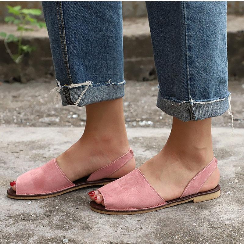 HTB1defWDH1YBuNjSszeq6yblFXa6 MCCKLE Summer Sandals Women Plus Size Flats Female Casual Peep Toe Shoes Faux Suede Slip On Elastic Band Leisure Solid Footwear