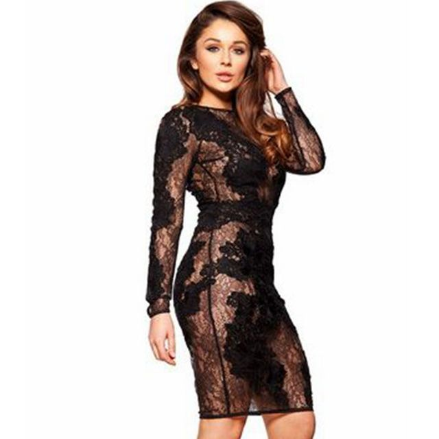 2017 spring black long sleeve lace dress bodycon celebrity
