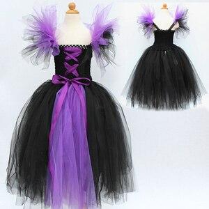 Image 4 - Юбка пачка Maleficent of evil queen для девочек, платье с рожками, костюм ведьмы на Хэллоуин для косплея для девочек, Детские праздники