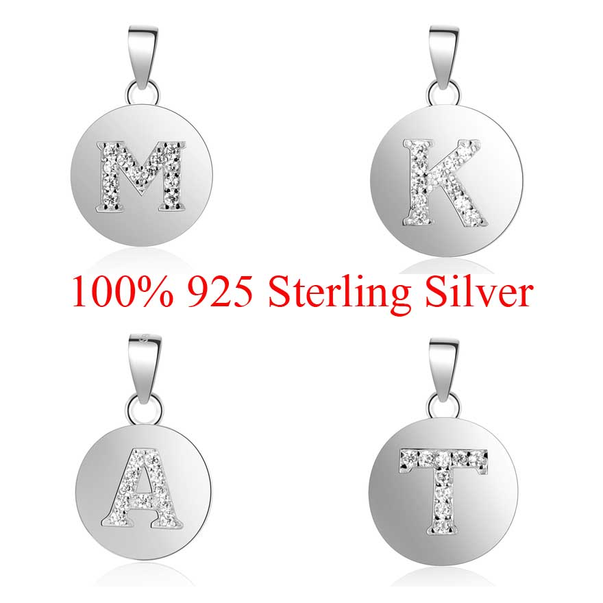 100% 925 Sterling Silver Initial Name Charm Pendant for Women DIY Jewelry Finding Charms A-Z Alaphabet Charms Wholesale