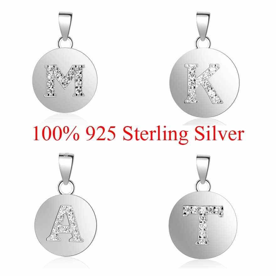 100% 925 srebro nazwa początkowa uroku wisiorek dla kobiet komponenty do biżuterii diy Charms A-Z Alaphabet Charms hurtownie