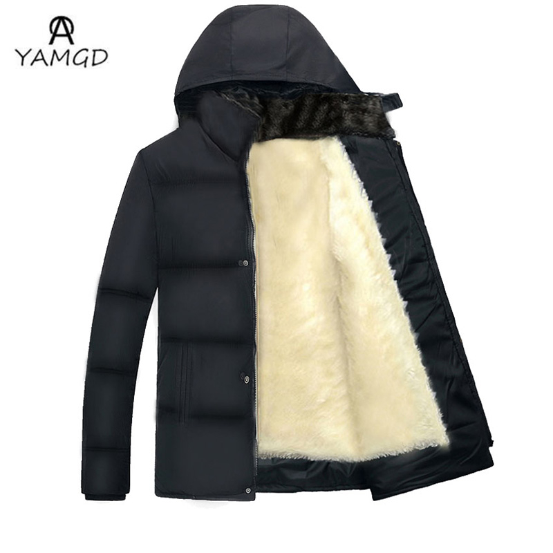 2016 winter fashion new men's casual plus velvet thick warm Cotton-padded clothes / Men add wool hooded down jacket coat