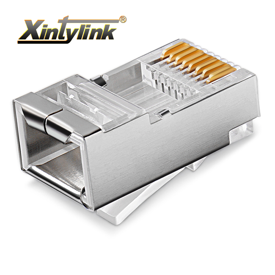 xintylink rj45 connector ethernet cable plug cat5 cat5e network connector 8P8C metal shielded modular terminals 1000pcs imc hot 10 pcs rj45 8p8c double ports female plug telephone connector