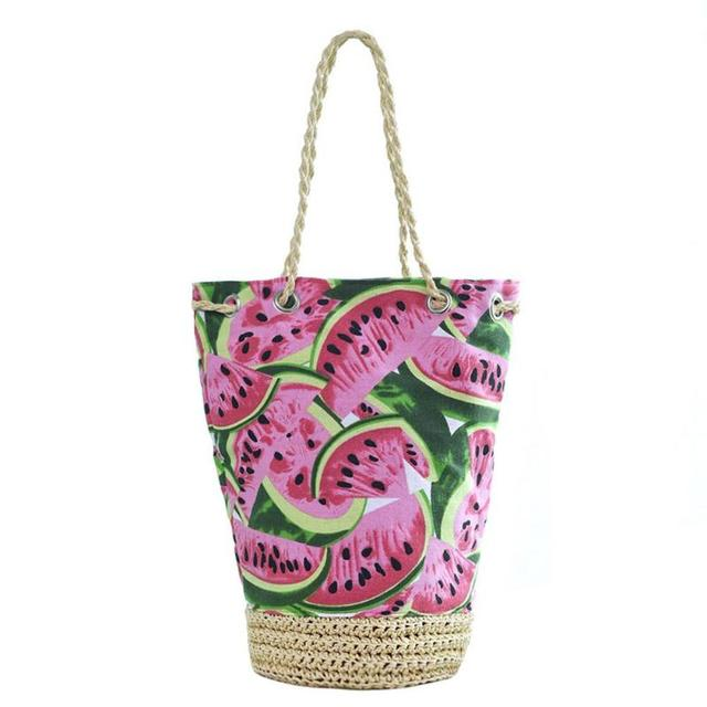 b2c2a86b032d Straw Summer Beach Bag for Women Fresh Fruit Watermelon Printing Tote  Bucket Bag Lady Canvas Shoulder Bag Woven HandBag Handmade