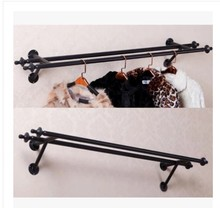 Wrought iron coat rack hangers rack clothing store Women's display wall on the side wall of the goods shelf