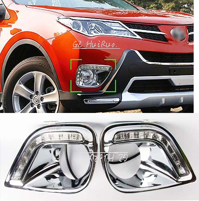 High configuration car auto daytime running light for TOYOTA RAV4 2014-2015 front bur grille grill + DRL LED white lamp universal pu leather car seat covers for toyota corolla camry rav4 auris prius yalis avensis suv auto accessories car sticks